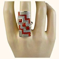 Rare Art Deco Theodor Fahrner Sterling Coral Enamel Ring ~ c1927