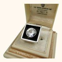Stunning Scandinavian Vintage Modernist Sterling Silver and Crystal Ring ~ 1971