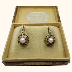 Antique French Napoleon III Dormeuses Earrings 18 k Gold & Pearl ~ c1870