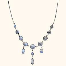 Moonstone Silver Chandelier Necklace ~ Superb
