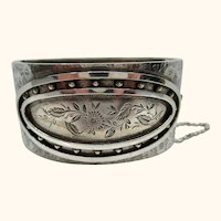 Superb Engraved Antique Victorian 1882 Sterling Silver Cuff Bracelet