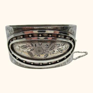 Superb Engraved Antique Victorian 1882 Sterling Silver Cuff Bracelet