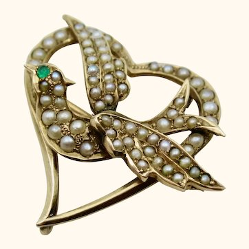 Antique Victorian 14K Gold Swallow Witch's Heart Pin Brooch ~ c1880s
