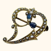 Antique Victorian 9K Sapphire Forget-me-not Witch's Heart Pin Brooch ~ c1890s
