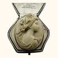Fine Quality Victorian Antique Carved Portrait Lava Cameo Brooch c1870 - 1880