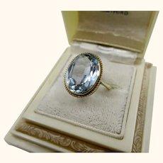 Fine Large Vintage 9K Gold Blue Spinel Ring ~ London 1976