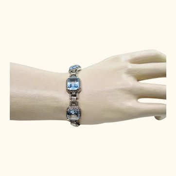 Art Deco Period Blue Spinel and Silver Bracelet ~ c1920s