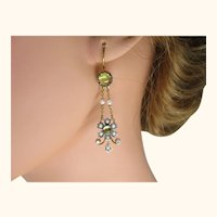 Fine Vintage Chandelier Earrings ~ Peridot Seed Pearl Diamond Silver Gold