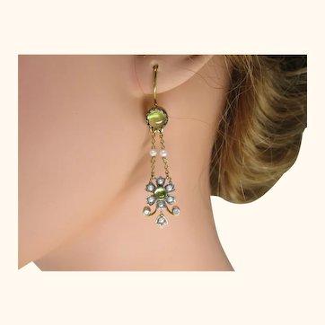 Fine Vintage Chandelier Earrings ~ Peridot Seed Pearl Diamond Silver Gold