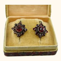 Fine Petite Antique Bohemian Garnet Earrings ~ 1920s