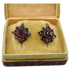 Fine Petite Antique Bohemian Garnet Earrings ~ 1920s
