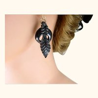 Antique Superb Victorian Whitby Jet Carved Mourning Gold Earrings ~ c1860s