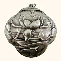 Fine Art Nouveau French Pendent Silver Powder Compact ~ 1890-1900