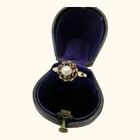 Antique Pearl Rose Gold Plate Ring ~ c1900