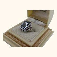Vintage Spinel Sterling Arts and Crafts Design Handmade Ring