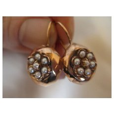 Antique Fine Victorian 18k Rose Gold Pearl Faceted Earrings C1870
