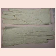 1960s Vintage Cream Textured Kid Leather Gloves ~ Size 7.5 ~ Unworn
