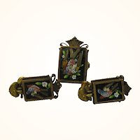 Antique 15 Kt Etruscan Gold Micro Mosaic Ring and Earrings ~ Birds In Flight