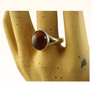 Niels Erik From Danish Modernist Sterling Amber Ring ~ c1960s