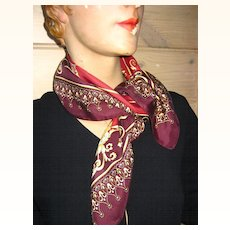 Vintage French Classical Silk Scarf Printemps Paris
