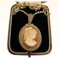 Art Deco Theodor Fahrner Cameo Sterling Silver Necklace and Chain ~ 1950s