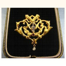 French Belle Epoque Era 18 Carat Gold Antique Repoussé Brooch ~ c1870s