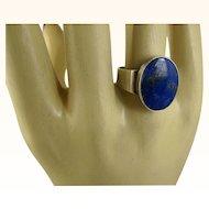 Niels Erik From Denmark Modernist Lapis Sterling Ring ~ c1960s
