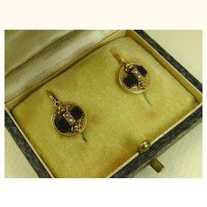 Antique French Napoleon III Dormeuses Earrings 18 k Gold, Jet & Pearl ~ c1860