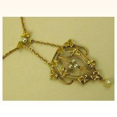 French Belle Epoque Era 18 Carat Gold Antique Repoussé Pendant Necklace ~ c1890s
