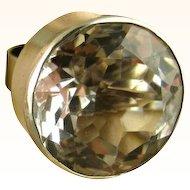 Niels Erik From Danish Modernist Huge Sterling Rock Crystal Ring ~ c1960's