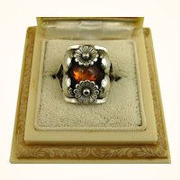 N E From Floral Sterling Silver and Amber Ring Niels Erik From ~ c1950s
