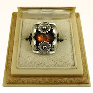 Vintage Niels Erik From Floral Sterling Silver and Amber Ring ~ c1950s