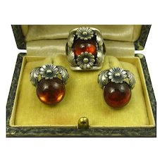 N E From Rare 1950's Set Floral Sterling Silver and Amber Ring and Earrings Niels Erik From
