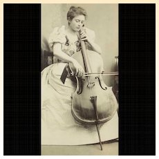 Antique Cello Cellist Cello Player Violoncello Real Photograph In Exceptionally Fine Archival Frame, Rare Exquisite Photographic Image!