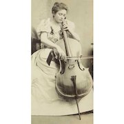 Antique Cello Cellist Cello Player Violoncello Real Photograph In Exceptionally Fine Archival Frame, Rare Exquisite Photographic Image!