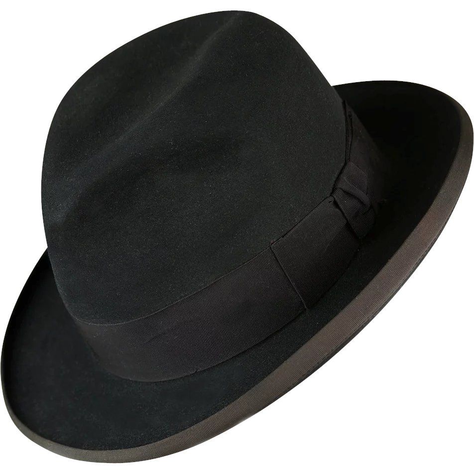 Vintage 1950s Black Fedora Unusually Large Size SOLD  cb3ee1a14d3d
