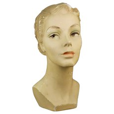 Mid-Century Mannequin Millinery Head From Millinery Salon For Hats Dating Between late 1930s through mid-1940s