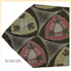 Vintage 1950s Tie For Men, Silk in Chic Wearable Colors & Pattern
