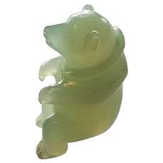 Beautiful Miniature Translucent Jade Jadite Pale Green Carved Sitting Up Bear