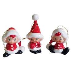 Rare 1950's Lefton Santa Pixie Elf Ornament Set of Three