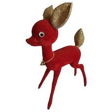 "1960's 12"" Red Flock Christmas Reindeer, Gold Mica Ears & Tail, Jiggle Eyes"