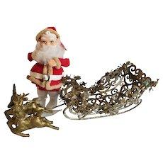 Vintage 1950's Japan Santa & Gold Plastic Hong Kong Sleigh & Reindeer