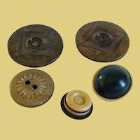 5 Art Deco Celluloid Buttons, 2 Large Plus