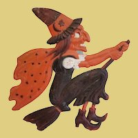 Antique 1930's German Halloween WITCH on BROOM Embossed Decoration