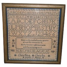 """Primitive AAFA Sampler with Blue Stitching Dated 1851 """"Christina"""" with Heart"""