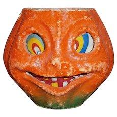 Halloween Pulp JOL Pumpkin Lantern with Paper Face Insert 1940's