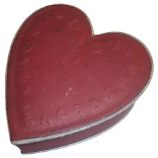 Vintage Small Valentine Day Red Heart Candy Container Box : Embossed Mini Hearts on Top, Lace Trim