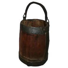AAFA Primitive Treen Wood Bucket Pail with Hand Forged Iron Bail 1700's