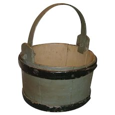 Small Primitive Shaker Wood Bucket with Bail in Black and Gray Green Paint