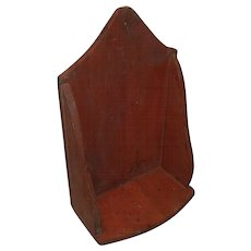 Primitive Wood Hanging Candle Shelf in Red Paint